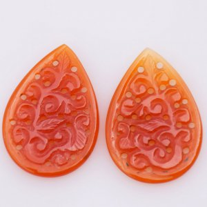 Handcrafted Carving Natural CAROLINE Gemstone Pears shape pair 24x36mm 26.90ct 32$