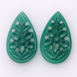 Handcrafted Carving Green Onyx 17.10ct 14x19mm 20$ pair