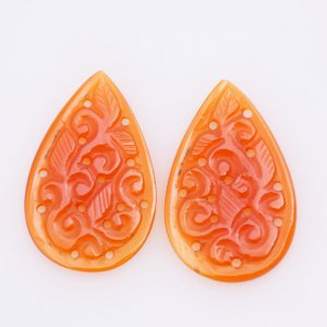 Handcrafted Carving Natural CAROLINE Gemstone Pears shape pair 22x32mm 19.60ct 24$