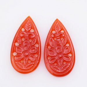 Carving Natural CAROLINE Gemstone fancy Shape 16x30mm 30ct pair
