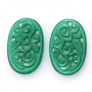 Handcrafted Carving Green Onyx 20ct 15x26mm 20$ pair