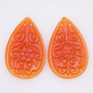 Handcrafted Carving Natural CAROLINE Gemstone Pears shape pair 25x40mm 31.70ct 37$